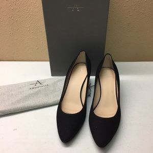 Aquatalia Black Diamond Suede Heel 9.5M